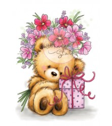 Teddy with Present clear stamp from Wild Rose Studio UK