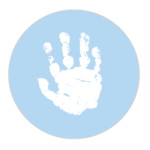 Baby Hand Powder Blue Sticker Large