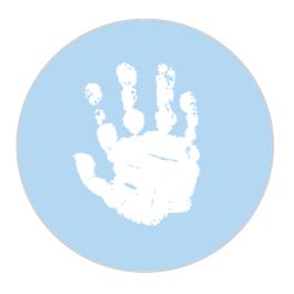 Baby Hand Powder Blue Sticker Large