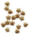 antique gold small hearts and stars