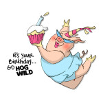 hog wild birthday rubber stamp from art impressions