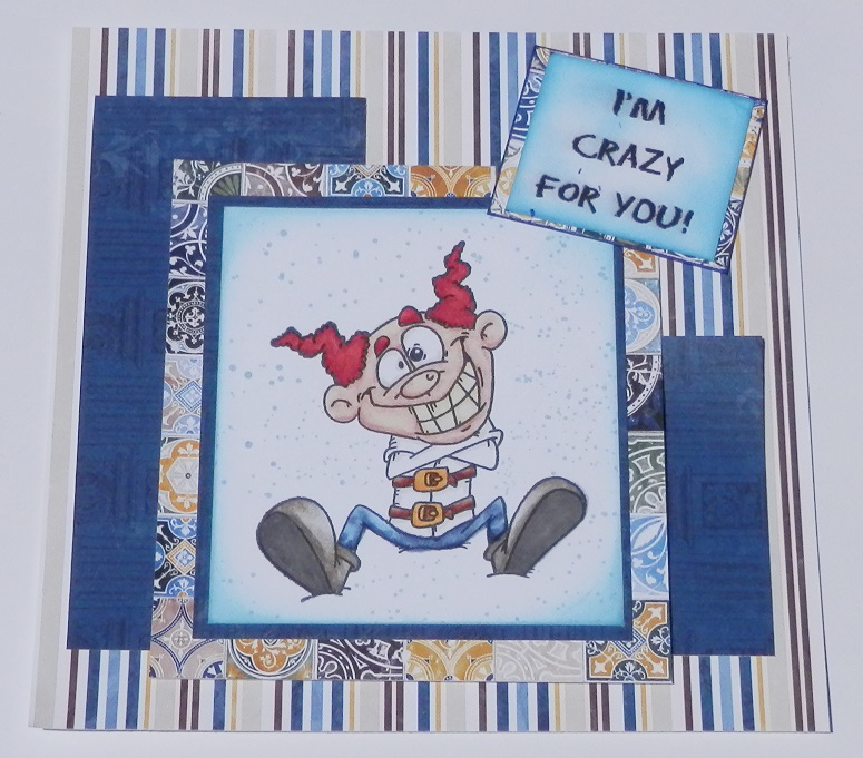 Card mde using the Crazy 4 U rubber stamp by Doodle Dragon and Rose Cafe papers from Bo Bunny