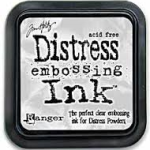 clear distress embossing ink from Rangerink and Tim Holtz