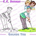 golfing tom rubber stamp from Robertos Rascals