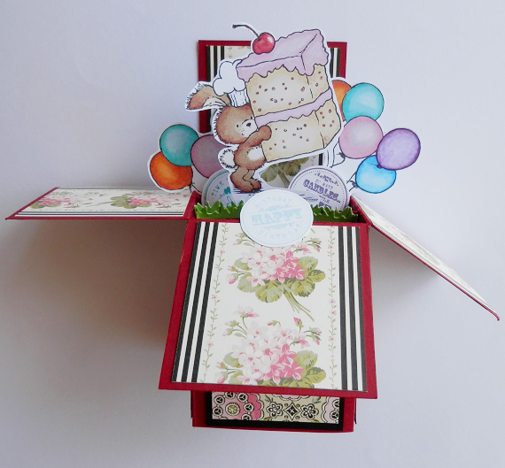 Bunny with cake box card open front