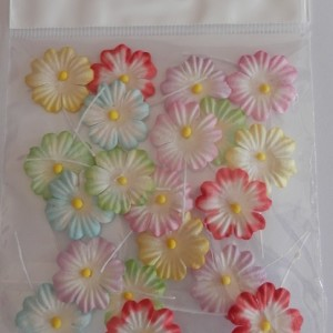 mulberry paper 22mm flowers mixed colours