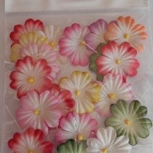 mulberry paper flower mixed colours 27mm