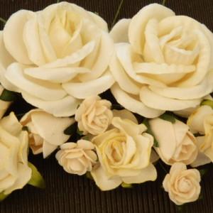Cream Mixed Paper Roses