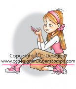 erica texting rubber stamp by Robertos Rascals from CC Designs
