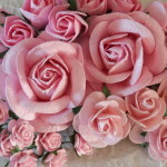 Pink mixed roses and rose buds