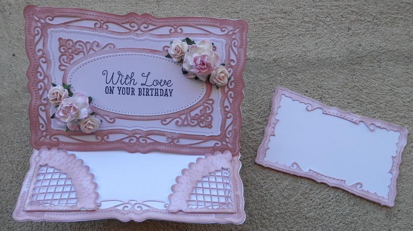 Radiant Rectangles from Spellbinders - easel card open  with message card