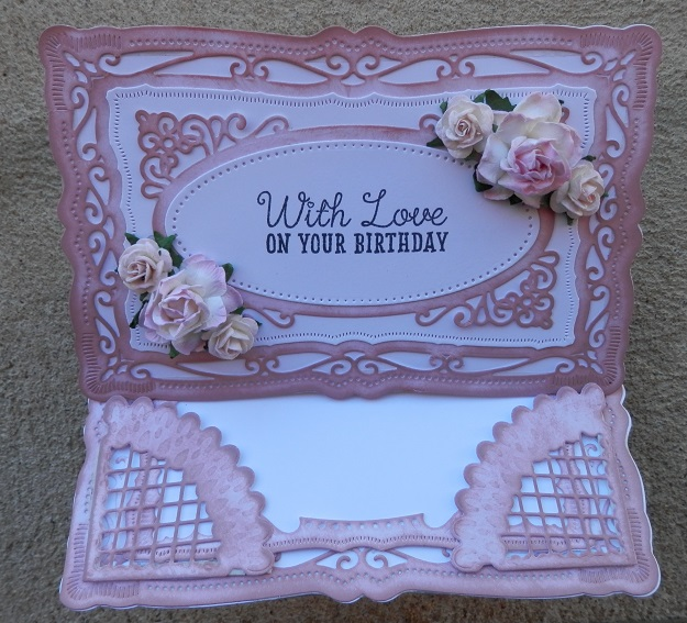 Radiant Rectangles from Spellbinders - easel card open