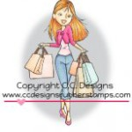 shopping erica rubber stamp by Robertos Rascals from CC Designs