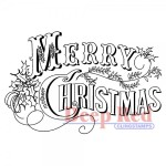 Vintage Merry Christmas rubber stamp from Deep Red Cling Stamps