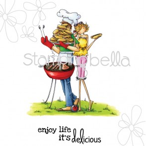 Bella and Barney Have a Barbeque Rubber Stamp from Stamping Bella