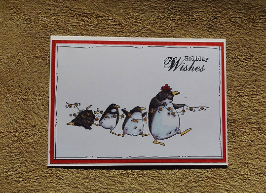 Card using Christmas Penguins from Stamping Bella