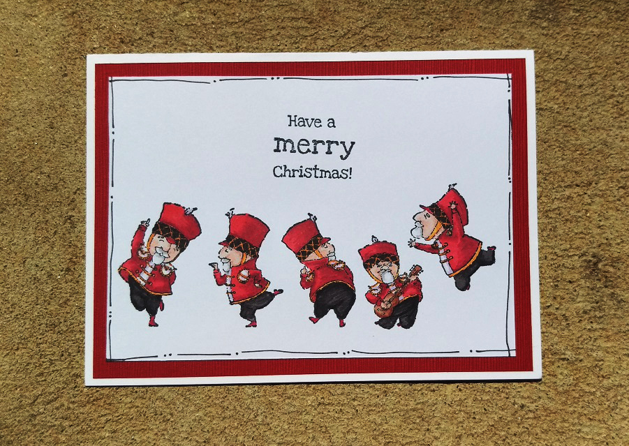 Card using christmas soldiers from stamping bella