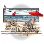 Beach Serenity rubber stamp by Dove Art Studio from CC Designs