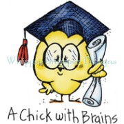 A Chick with Brains rubber stamp from Whipper Snapper Designs