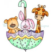 Baby Zoo Umbrella rubber stamp from Whipper Snapper Designs